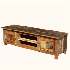 Reclaimed Media Cabinet Unstained Reclaimed Wood Media Console With Double Shelves And