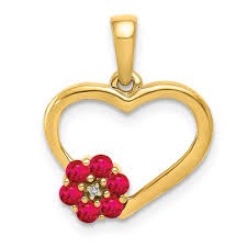lex lu 14k yellow gold diamond and ruby heart pendant lal4282