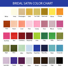 Color Swatches For Weddings Bridal Satin Color Chart