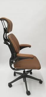 chair with headrest. humanscale freedom chair fully adjustable model with headrest in light brown,