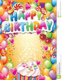 Happy Birthday Sign Templates Template For Happy Birthday Card Stock Vector Illustration Of