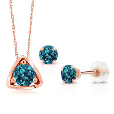 1 10 ct round london blue topaz 10k rose gold pendant earrings set 0