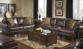 ashley axiom living room set 4pcs genuine leather walnut casual style