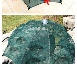 <b>NEW</b> 4 20 Holes Automatic Folding Fishing Net <b>Shrimp Cage</b> Nylon ...