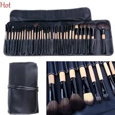 top professional cosmetic brushes make up brush kit makeup accessories tools wood brushes tools set black pouch bag sv004483 airbrush makeup