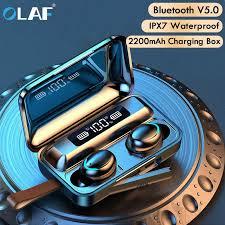 <b>Olaf</b> TWS Wireless Earphones <b>Bluetooth 5.0</b> 2200mAh Charging ...