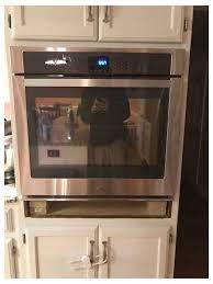 gap under single wall oven filling the