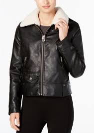 lucky brand faux fur collar faux leather moto jacket