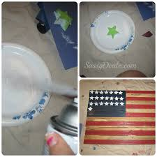 spray paint with the star sponge to make american flag stars
