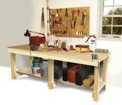 this workbench is very basic but when building that is usually a good thing it is a simple workbench with an open storage shelf on the bottom