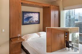 office wall bed. Condo Guest Room With Murphy Beds Transforms To Home Office Wall Bed