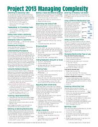 project management quick reference guide microsoft project 2013 quick reference guide managing complexity