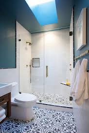 blue bathroom floor tiles. Delighful Tiles Walk In Shower With Black And White Quatrefoil Cement Tile Floor For Blue Bathroom Tiles R