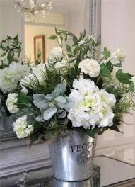 Stunning Large Artificial Silk Flower Arrangement White Hydrangea Metal  Bucket | eBay