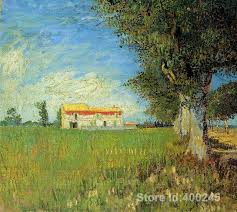 hand painting art farmhouse in a wheat field of vincent van gogh reion oil canvas handmade
