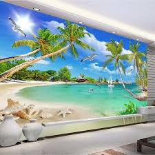 <b>custom 3 d photo</b> wallpaper wall murals 3D wallpaper Beach tree ...