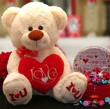 valentine truffles and furry teddy bear larger photo