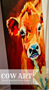 love at first sight cow canvaspainting