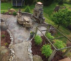 stamped concrete patio with fireplace. Stamped Concrete Patio Mason Ohio Loveland Seating Walls And Columns With Fire Pit Fireplace 0
