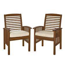 acacia patio chairs with cushions in