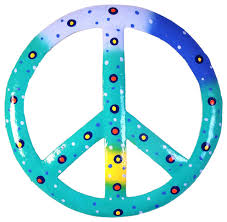 tropical ocean blue peace sign 8 wall decor haitian metal beach style outdoor wall art by mary b decorative art