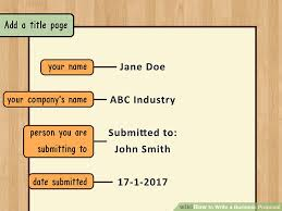 Business Proposal Cover Page How To Write A Business Proposal With Pictures Wikihow
