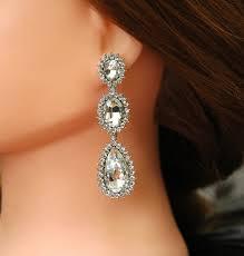 crystal bridal earrings wedding earrings long rhinestone earrings silver chandelier earrings wedding jewelry 1920s style jewelry