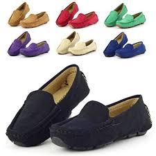 Dadawen Girls Boys Suede Slip On Loafers Oxford Shoes Blue