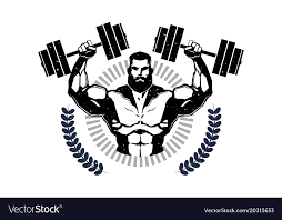 Gym Logo With Training Athletic Man Hold Barbells