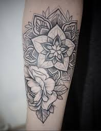 Mandala Floral In Black Dotwork By Alex Tabuns St Petersburg