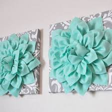 two mint green dahlia on gray and white damask canvases wall art on mint green canvas wall art with two mint green dahlia on gray and white from bedbuggs boutique