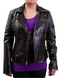 women s side buckle black biker leather jacket