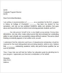 How To Format A Letter Of Recommendation For A Student Sample Letter Of Recommendation For Graduate School From