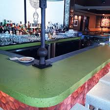 example of a coloured concrete countertop in a bar