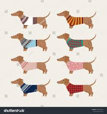 Dapper Dachshund Designs Dachshund Character Wearing Knit Sweater Of Various Patterns