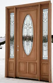 natural brown wooden door with oval frosted glass on the middle feat frosted glass sidelights