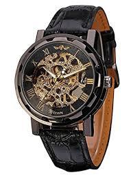 jechin men s black skeleton dial hand wind up pu leather jechin men s black skeleton dial hand wind up pu leather mechanical wrist watch