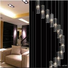 modern minimalist fashion pendant light k9 crystal block s shaped transpa duplex staircase chandelier stair lamp lamps light for hotel pendant track