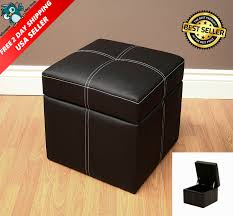 faux leather chair. Black Square Ottoman Storage Foot Stool Box Small Faux Leather Chair Compartment
