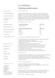 Resume Samples Teacher Teaching Assistant Sample Teacher Example