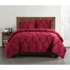 truly soft everyday pleated velvet red king comforter set