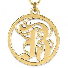 old english initial pendant 24k gold plated