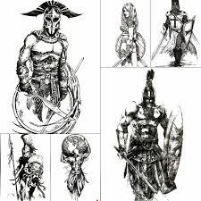 Velké Pohodě Sparťan Dočasné Tetování Pro Muže Kluky Starověký