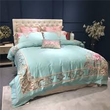 green color luxury bed sheet set 100s egyptian cotton bedding set oriental embroidery fl duvet cover bed set pillowcase red white and blue bedding sets