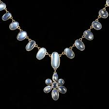 antique victorian moonstone necklace gold silver circa 1900