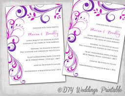 Wedding Invitations Templates Purple Wedding Invitation Templates Purple And Pink Etsy