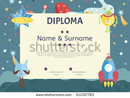 kids diploma template preschool elementary school stock vector  kids diploma template preschool elementary school kids diploma
