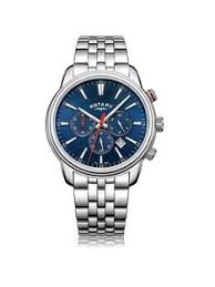 rotary mens watches gifts jewellery very co uk rotary blue chronograph dial silver tone bracelet mens watch