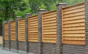 wood fence panels for sale. Horizontal Wood Fence Panels Louvered Inserted Between Brick Columns . For Sale O