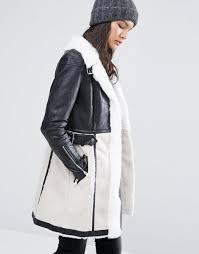river island faux shearling coat black stone women coats river island coats river island jackets very